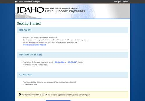 IDHW Child Support application home page